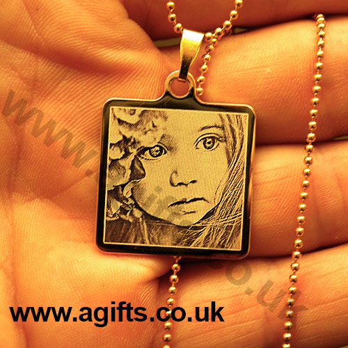 Personalised necklace 14k gold plated engraved photo pendant aloadofball Choice Image