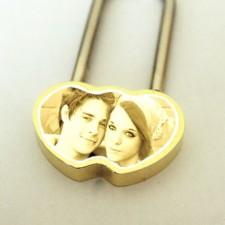 Photo Engraved Heart Love Padlock