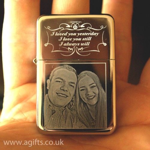 personalised photo lighter engraved wording